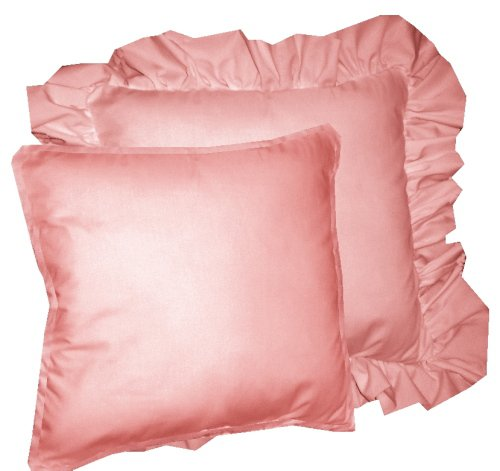 Solid Rose Colored Accent Pillow with Removable Ruffled or Corded Edge (in 16x16 or 18x18)