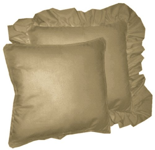 Solid Taupe Colored Accent Pillow With Removable Ruffled