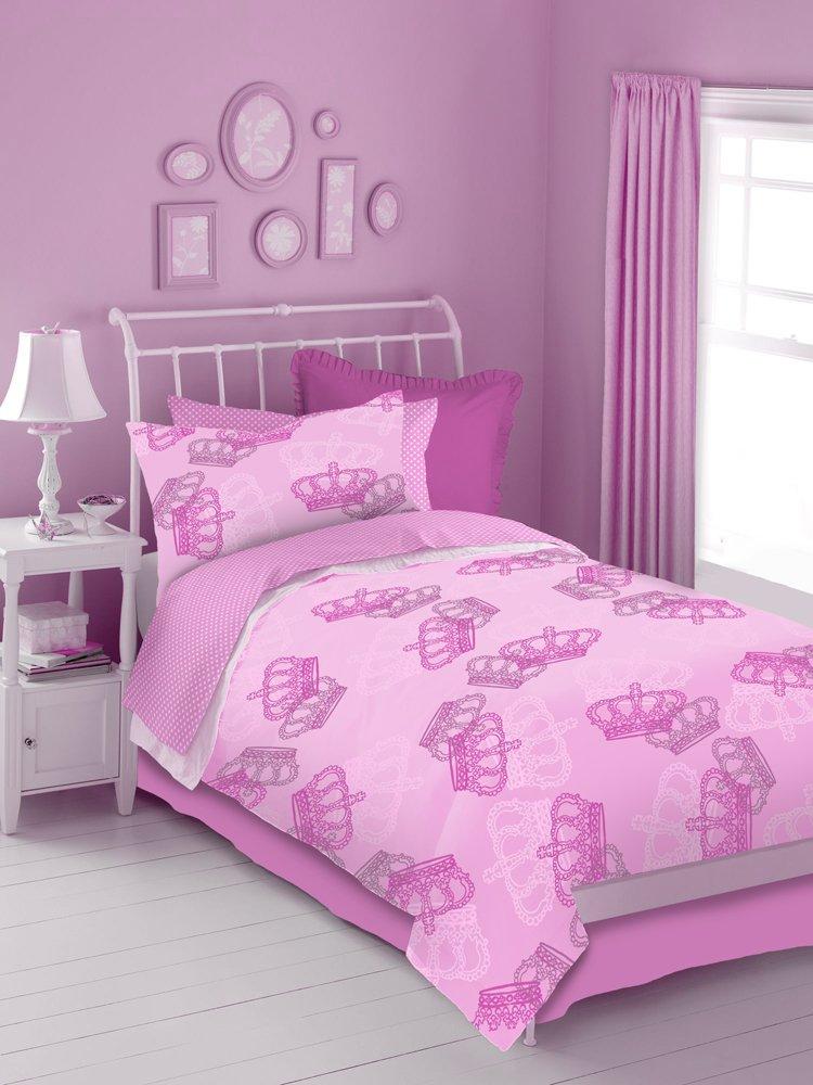 Pink Crowns 4 Pc Twin Comforter Set Pink