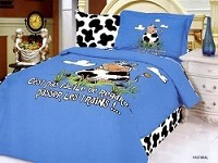Pastoral - 4 Piece Twin (Single) Bedding Cow Speaking French Cartoon Kids Duvet Cover Set