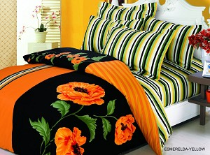 Esmeralda - 6 Piece Full / Queen Bedding Orange Poppies On Black Backdrop Beautiful Duvet Cover Set