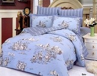Balo - 6 Piece Full / Queen Bedding Romantic Sceneries On Blue Duvet Cover Set