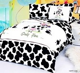 Happy Cow - 4 Piece Twin (Single) Bedding Amusing Cartoon Print Kids Duvet Cover Set