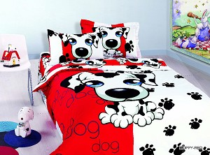 Puppy Red - 4pc Twin Size Bedding Ensemble, Adorable Puppies on a Red and White Setting with Black Paw Prints going up the Bed Duvet Cover Set