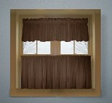 Solid Brown Colored Kitchen Curtain only - Valance Sold Separately - (available in many custom lengths)
