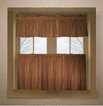 Solid Copper Brown Colored Kitchen Curtain only - Valance Sold Separately - (available in many custom lengths)