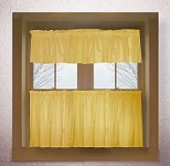 Solid Gold Colored Kitchen Curtain only - Valance Sold Separately - (available in many custom lengths)