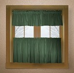 Solid Hunter Green Colored Kitchen Curtain only - Valance Sold Separately - (available in many custom lengths)