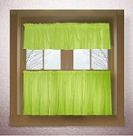 Solid Lime Green Colored Kitchen Curtain only - Valance Sold Separately - (available in many custom lengths)