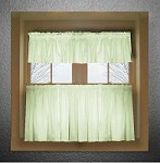 Solid Light Green Colored Kitchen Curtain only - Valance Sold Separately - (available in many custom lengths)
