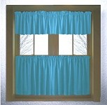 Solid Turquoise Colored Kitchen Curtain only - Valance Sold Separately - (available in many custom lengths)