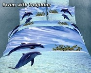 Swim with Dolphins by Dolce Mela, 6 PC's Queen Size Duvet Cover Set in a Beautiful Dolce Mela Gift Box DM427Q