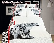White Cheetahs by Dolce Mela, 6 PC's Queen Size Duvet Cover Set in a Beautiful Dolce Mela Gift Box DM431Q