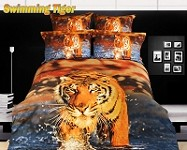 Swimming Tiger by Dolce Mela, 6 PC's Queen Size Duvet Cover Set in a Beautiful Dolce Mela Gift Box DM432Q