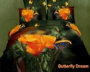 Butterfly Dream  by Dolce Mela, 6 PCs Queen Size Egyptian Cotton Duvet Cover Set in a Beautiful Dolce Mela Gift Box DM441Q