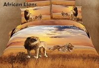 African Lions by Dolce Mela - 6 PCs Queen Size Duvet Cover Set in a Beautiful Dolce Mela Gift Box DM456Q