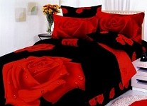 Night Rose (Gullu Black) T - 4 Piece Twin (Single) Bedding Excellent Floral Design & Red And Black Color Combination Duvet Cover Set