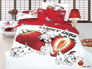Lucky Dog - a Delightful Print Of Adorable Dalmation Puppies Playing next to Two Large Strawberries on a White Background, Kids 4pc Twin Duvet Cover Set by Arya