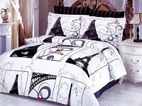 Eiffel Gray - Iconic Images of the World Famous Eiffel Tower framed in Rectangle Shapes by Le Vele, 6pc Full / Queen Duvet Cover Set