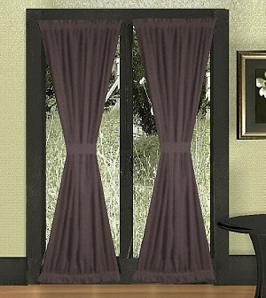 Solid Eggplant Purple Colored French Door Curtain Available In Many Lengths