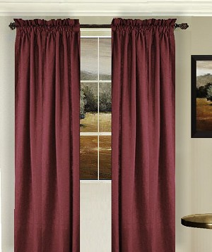 Solid Dark Wine Colored Window Long Curtain Available In