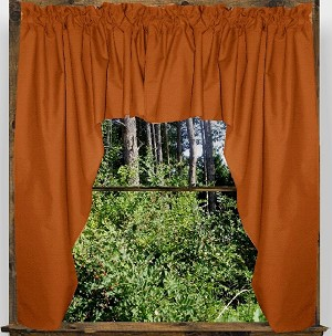 Solid Rust Colored Swag Window Valance Optional Center Piece Available