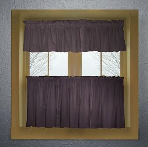 Eggplant Purple Color Tier Kitchen Curtain Two Panel Set