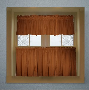 solid rust colored caf style curtain includes 2 valances