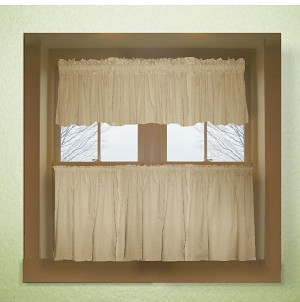 Solid Tan Colored Caf 233 Style Curtain Includes 2 Valances