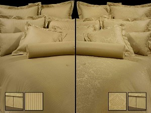 Arabesque Dobby - 4pc Queen Comforter Set (Natural)
