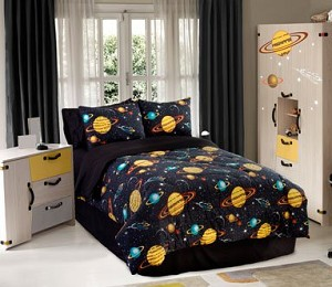 Rocket Star - 4pc Full Comforter Set (Black Multi)
