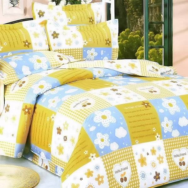 yellow countryside 100 cotton 3pc duvet cover set twin size. Black Bedroom Furniture Sets. Home Design Ideas