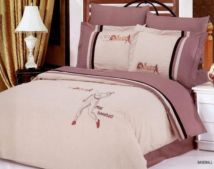 Baseball 6 Piece Full Queen Bedding Featuring Player
