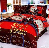 Korsan - 4 Piece Twin (Single) Bedding Fun Pirate Designs Kids Duvet Cover Set