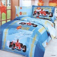 F1 Blue - 4 Piece Twin (Single) Bedding Blue F1 Car Racing Junior Kids Duvet Cover Set