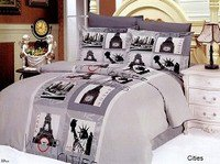 Cities, 6 Piece Full-Queen Bedding World Famous Metropolis Icons Duvet Cover Set