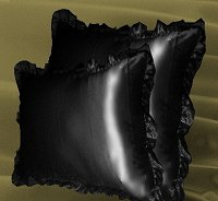 Black Satin Ruffled Edge Throw Pillow Cover with Pillow Insert (available in 16x16 or 18x18)