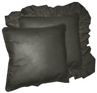 Solid Black Colored Accent Pillow with Removable Ruffled or Corded Edge (in 16x16 or 18x18)