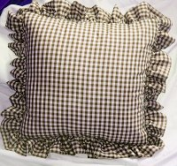 Brown Gingham Check Accent Pillow with Removable Ruffled Edge Cover (available in 16x16 or 18x18)