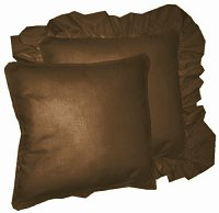 Solid Brown Colored Accent Pillow with Removable Ruffled or Corded Edge (in 16x16 or 18x18)