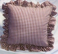 Burgundy-Wine Gingham Check Accent Pillow with Removable Ruffled Edge Cover (available in 16x16 or 18x18)