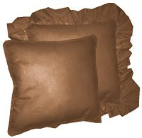 Solid Copper Brown Colored Accent Pillow with Removable Ruffled or Corded Edge (in 16x16 or 18x18)