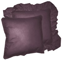 Solid Eggplant Purple Colored Accent Pillow with Removable Ruffled or Corded Edge (in 16x16 or 18x18)