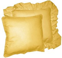Solid Gold Colored Accent Pillow with Removable Ruffled or Corded Edge (in 16x16 or 18x18)