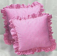 Hot Pink-Fuchsia Gingham Check Accent Pillow with Removable Ruffled Edge Cover (available in 16x16 or 18x18)