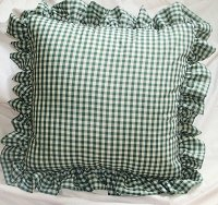 Hunter Green Gingham Check Accent Pillow with Removable Ruffled Edge Cover (available in 16x16 or 18x18)