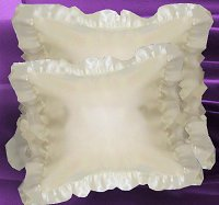 Ivory Satin Ruffled Edge Throw Pillow Cover with Pillow Insert (available in 16x16 or 18x18)