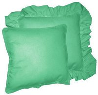 Solid Jade Green Colored Accent Pillow with Removable Ruffled or Corded Edge (in 16x16 or 18x18)