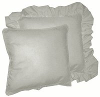 Solid Light Silver Gray Colored Accent Pillow with Removable Ruffled or Corded Edge (in 16x16 or 18x18)