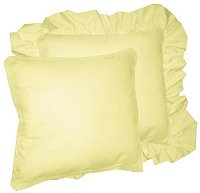Solid Light Yellow Colored Accent Pillow with Removable Ruffled or Corded Edge (in 16x16 or 18x18)